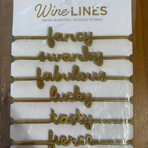 Fred & Friends WINE LINES Drink Markers Gold NEW